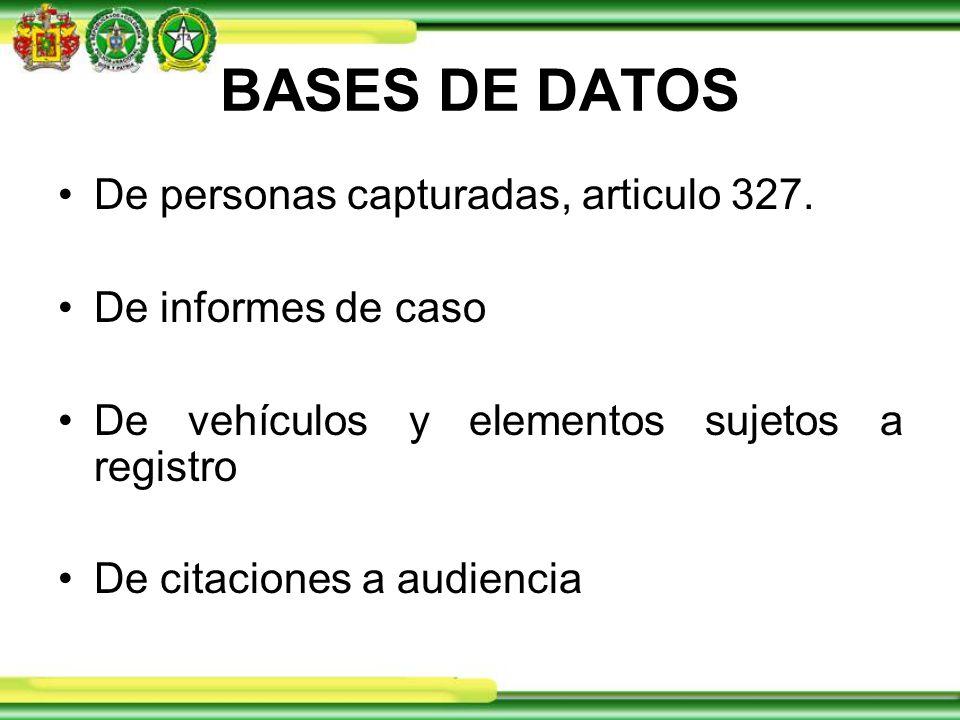BASES DE DATOS De personas capturadas, articulo 327.