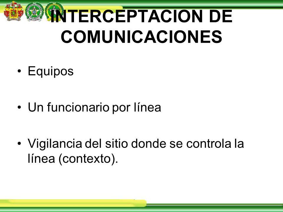 INTERCEPTACION DE COMUNICACIONES Equipos Un funcionario por línea Vigilancia del sitio donde se controla la línea (contexto).