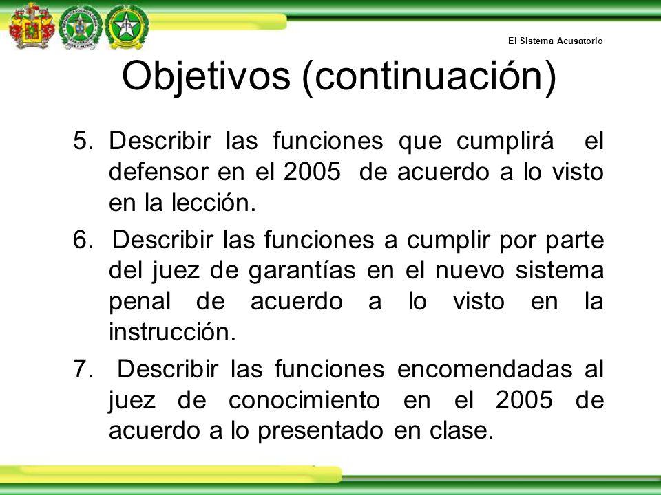 Objetivos (continuación) 5.