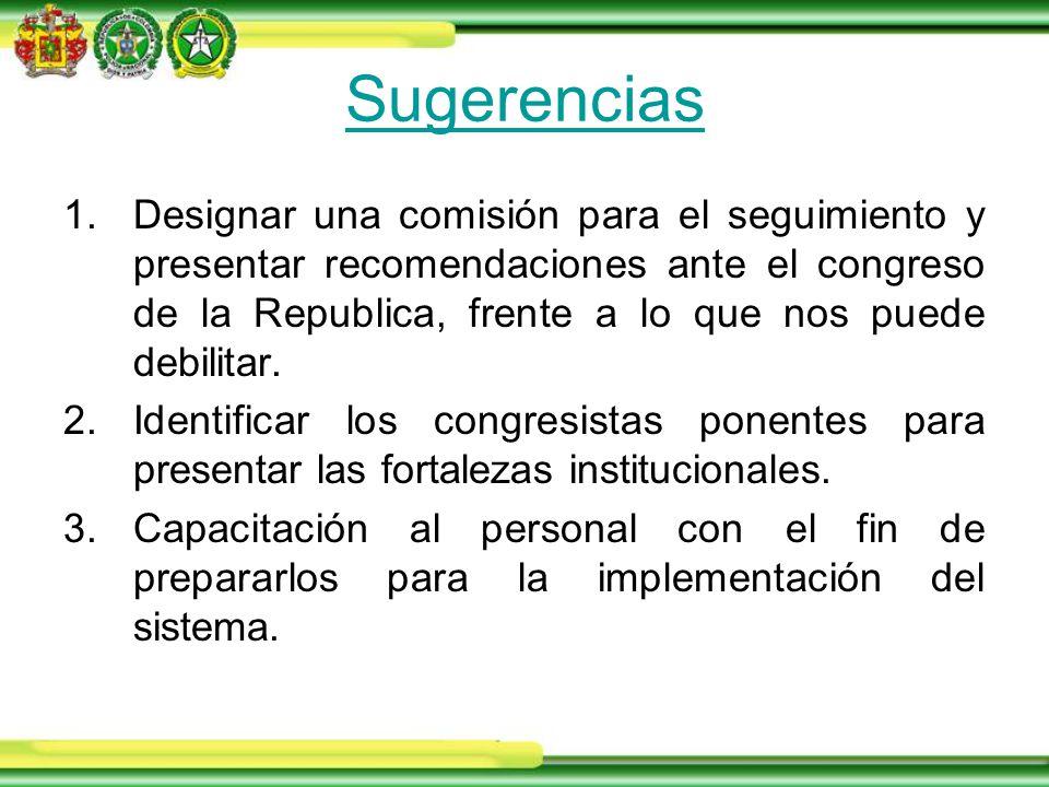Sugerencias 1.Designar una comisión para el seguimiento y presentar recomendaciones ante el congreso de la Republica, frente a lo que nos puede debilitar.