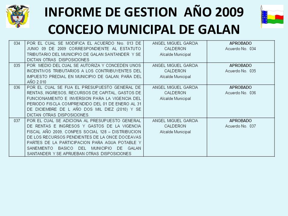 INFORME DE GESTION AÑO 2009 CONCEJO MUNICIPAL DE GALAN 034 POR EL CUAL SE MODIFICA EL ACUERDO Nro.