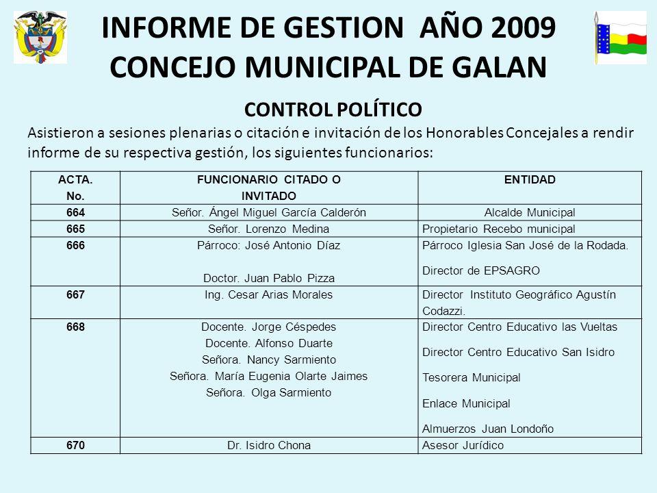INFORME DE GESTION AÑO 2009 CONCEJO MUNICIPAL DE GALAN CONTROL POLÍTICO Asistieron a sesiones plenarias o citación e invitación de los Honorables Concejales a rendir informe de su respectiva gestión, los siguientes funcionarios: ACTA.