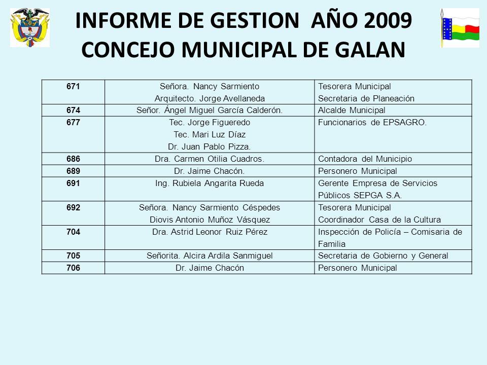INFORME DE GESTION AÑO 2009 CONCEJO MUNICIPAL DE GALAN 671 Señora.