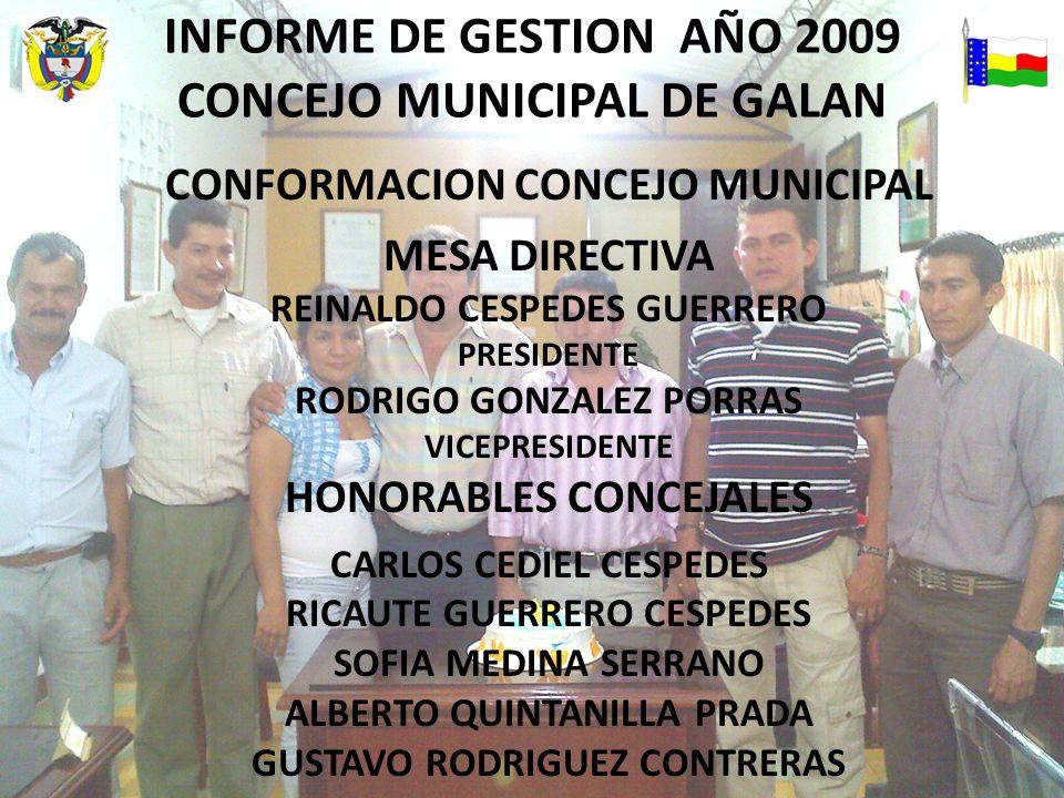 INFORME DE GESTION AÑO 2009 CONCEJO MUNICIPAL DE GALAN CONFORMACION CONCEJO MUNICIPAL MESA DIRECTIVA REINALDO CESPEDES GUERRERO PRESIDENTE RODRIGO GONZALEZ PORRAS VICEPRESIDENTE HONORABLES CONCEJALES CARLOS CEDIEL CESPEDES RICAUTE GUERRERO CESPEDES SOFIA MEDINA SERRANO ALBERTO QUINTANILLA PRADA GUSTAVO RODRIGUEZ CONTRERAS