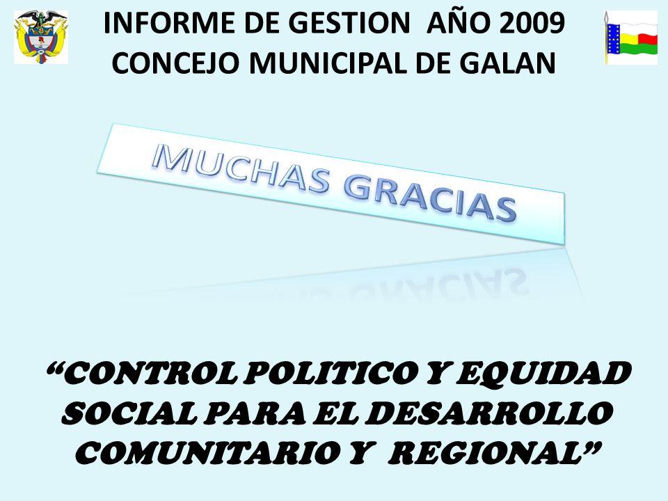 INFORME DE GESTION AÑO 2009 CONCEJO MUNICIPAL DE GALAN CONTROL POLITICO Y EQUIDAD SOCIAL PARA EL DESARROLLO COMUNITARIO Y REGIONAL
