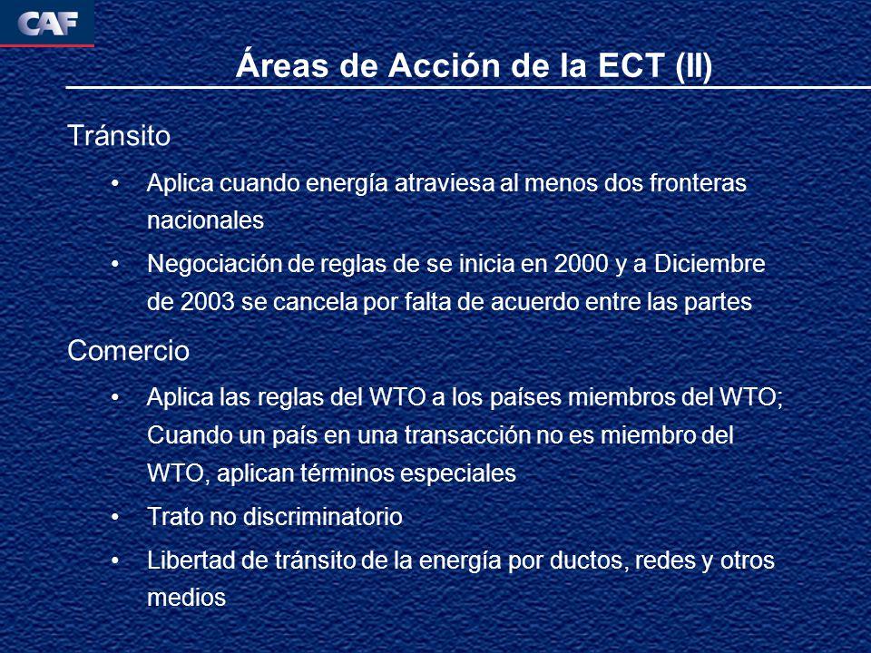 Áreas de Acción de la ECT (II) Tránsito Aplica cuando energía atraviesa al menos dos fronteras nacionales Negociación de reglas de se inicia en 2000 y a Diciembre de 2003 se cancela por falta de acuerdo entre las partes Comercio Aplica las reglas del WTO a los países miembros del WTO; Cuando un país en una transacción no es miembro del WTO, aplican términos especiales Trato no discriminatorio Libertad de tránsito de la energía por ductos, redes y otros medios