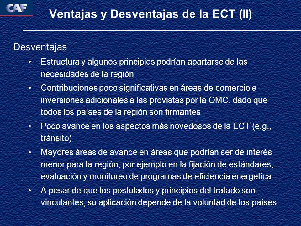 Ventajas y Desventajas de la ECT (II) Desventajas Estructura y algunos principios podrían apartarse de las necesidades de la región Contribuciones poco significativas en áreas de comercio e inversiones adicionales a las provistas por la OMC, dado que todos los países de la región son firmantes Poco avance en los aspectos más novedosos de la ECT (e.g., tránsito) Mayores áreas de avance en áreas que podrían ser de interés menor para la región, por ejemplo en la fijación de estándares, evaluación y monitoreo de programas de eficiencia energética A pesar de que los postulados y principios del tratado son vinculantes, su aplicación depende de la voluntad de los países