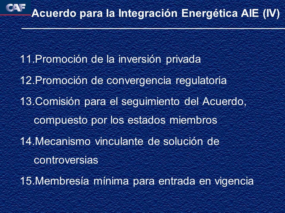 Acuerdo para la Integración Energética AIE (IV) 11.Promoción de la inversión privada 12.Promoción de convergencia regulatoria 13.Comisión para el seguimiento del Acuerdo, compuesto por los estados miembros 14.Mecanismo vinculante de solución de controversias 15.Membresía mínima para entrada en vigencia