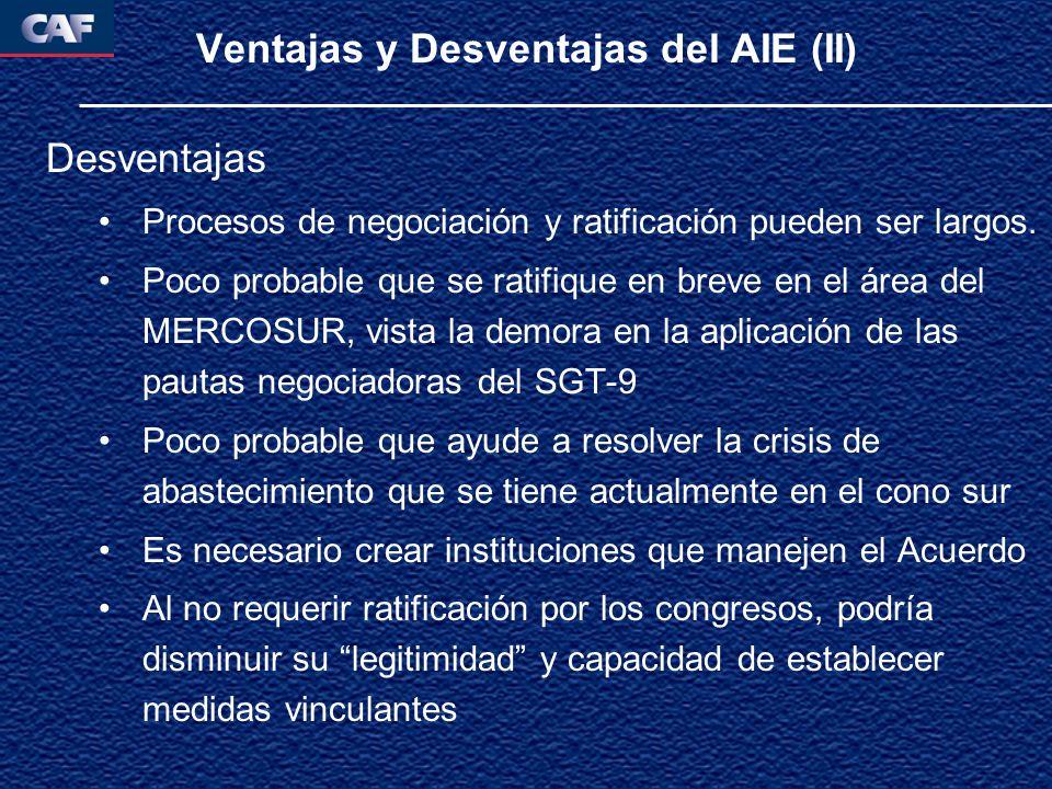 Ventajas y Desventajas del AIE (II) Desventajas Procesos de negociación y ratificación pueden ser largos.