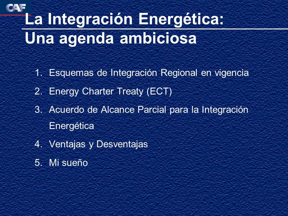 La Integración Energética: Una agenda ambiciosa 1.Esquemas de Integración Regional en vigencia 2.Energy Charter Treaty (ECT) 3.Acuerdo de Alcance Parcial para la Integración Energética 4.Ventajas y Desventajas 5.Mi sueño