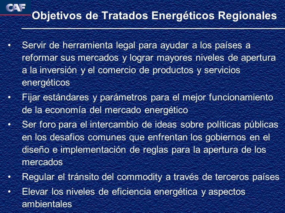 Objetivos de Tratados Energéticos Regionales Servir de herramienta legal para ayudar a los países a reformar sus mercados y lograr mayores niveles de apertura a la inversión y el comercio de productos y servicios energéticos Fijar estándares y parámetros para el mejor funcionamiento de la economía del mercado energético Ser foro para el intercambio de ideas sobre políticas públicas en los desafios comunes que enfrentan los gobiernos en el diseño e implementación de reglas para la apertura de los mercados Regular el tránsito del commodity a través de terceros países Elevar los niveles de eficiencia energética y aspectos ambientales