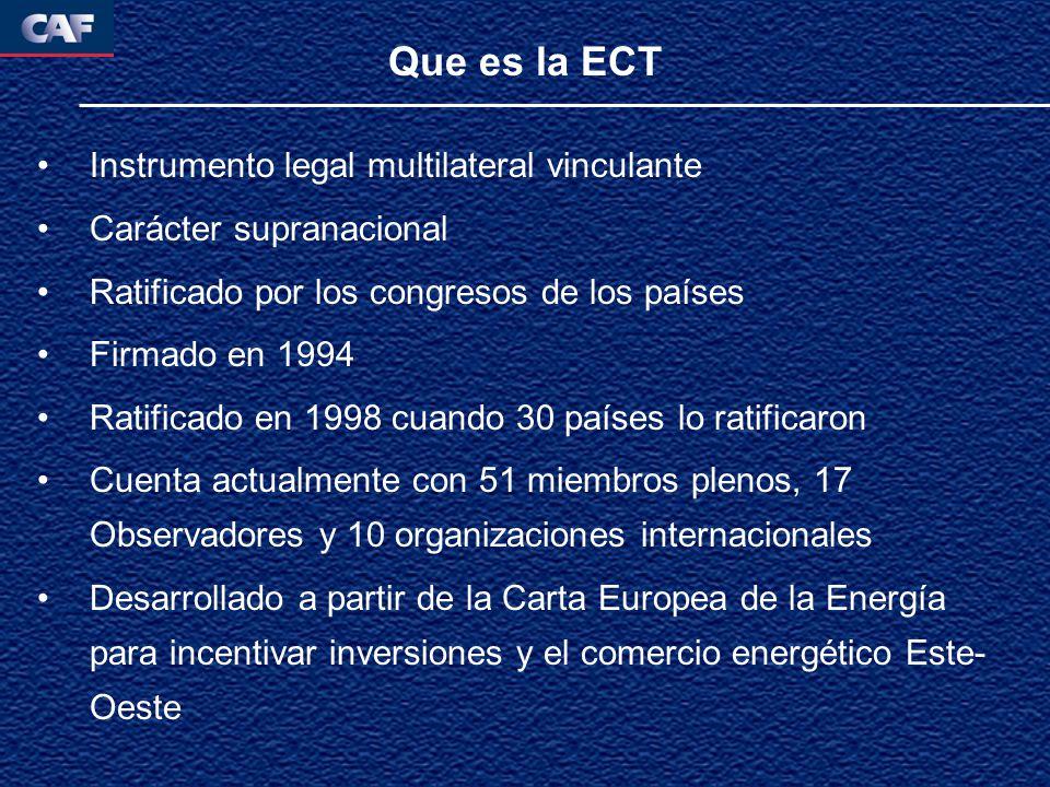 Que es la ECT Instrumento legal multilateral vinculante Carácter supranacional Ratificado por los congresos de los países Firmado en 1994 Ratificado en 1998 cuando 30 países lo ratificaron Cuenta actualmente con 51 miembros plenos, 17 Observadores y 10 organizaciones internacionales Desarrollado a partir de la Carta Europea de la Energía para incentivar inversiones y el comercio energético Este- Oeste
