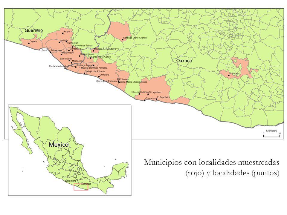 Municipios con localidades muestreadas (rojo) y localidades (puntos)