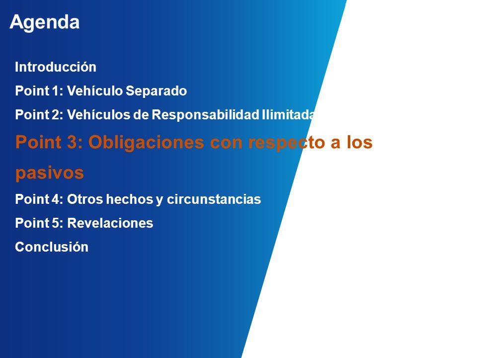 Agenda Introducción Point 1: Vehículo Separado Point 2: Vehículos de Responsabilidad Ilimitada Point 3: Obligaciones con respecto a los pasivos Point 4: Otros hechos y circunstancias Point 5: Revelaciones Conclusión