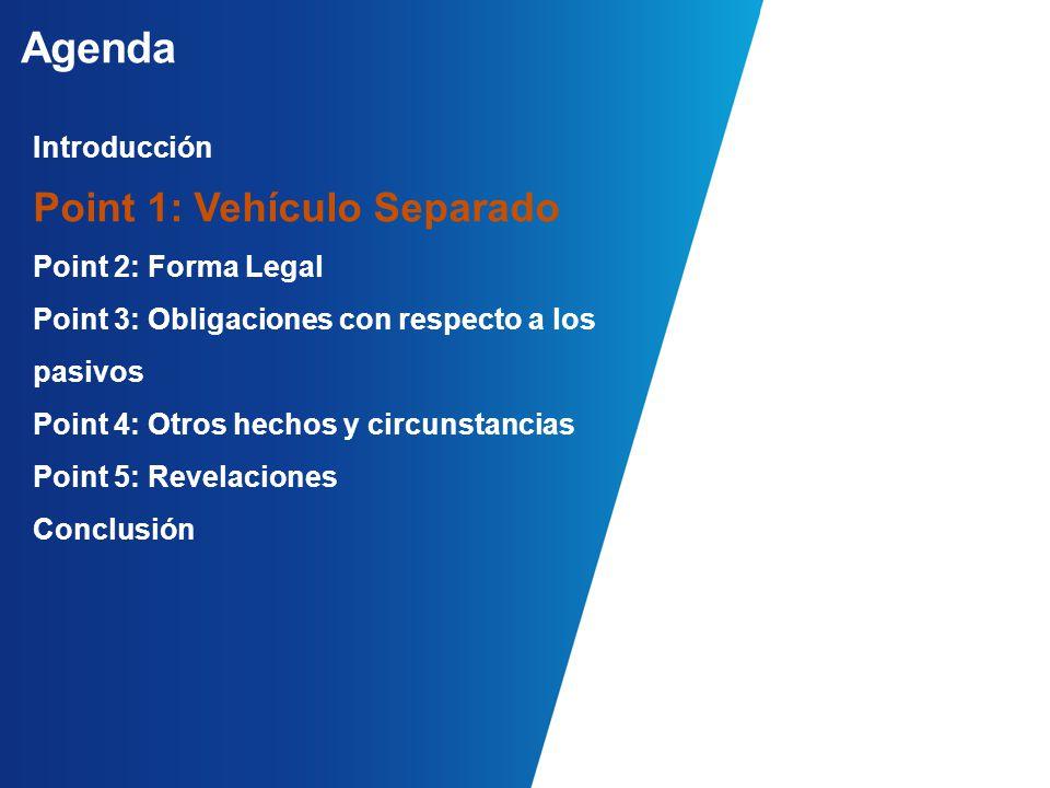 Agenda Introducción Point 1: Vehículo Separado Point 2: Forma Legal Point 3: Obligaciones con respecto a los pasivos Point 4: Otros hechos y circunstancias Point 5: Revelaciones Conclusión