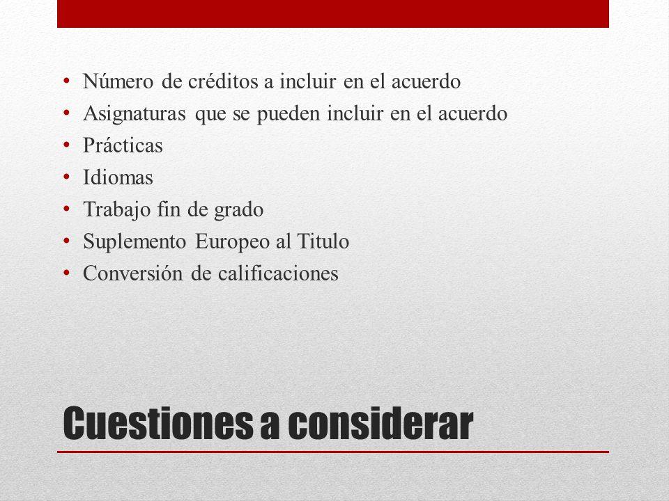 Cuestiones a considerar Número de créditos a incluir en el acuerdo Asignaturas que se pueden incluir en el acuerdo Prácticas Idiomas Trabajo fin de grado Suplemento Europeo al Titulo Conversión de calificaciones