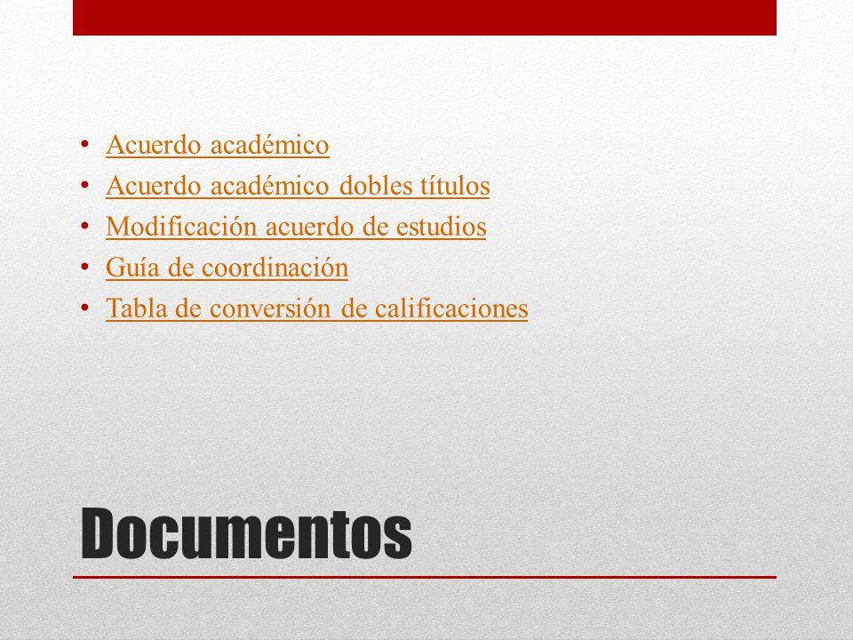 Documentos Acuerdo académico Acuerdo académico dobles títulos Modificación acuerdo de estudios Guía de coordinación Tabla de conversión de calificaciones