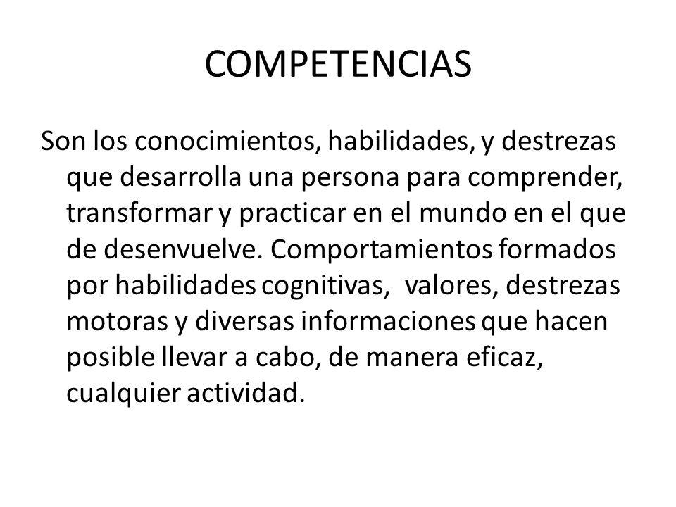 COMPETENCIAS Son los conocimientos, habilidades, y destrezas que desarrolla una persona para comprender, transformar y practicar en el mundo en el que