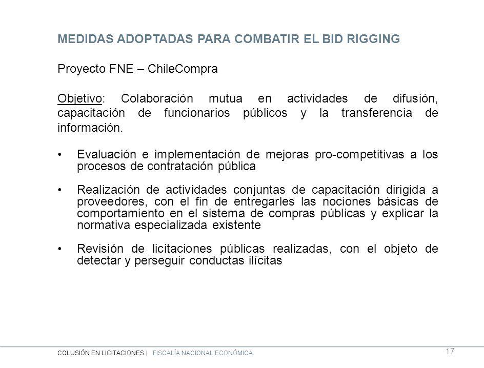 MEDIDAS ADOPTADAS PARA COMBATIR EL BID RIGGING Proyecto FNE – ChileCompra Objetivo: Colaboración mutua en actividades de difusión, capacitación de funcionarios públicos y la transferencia de información.