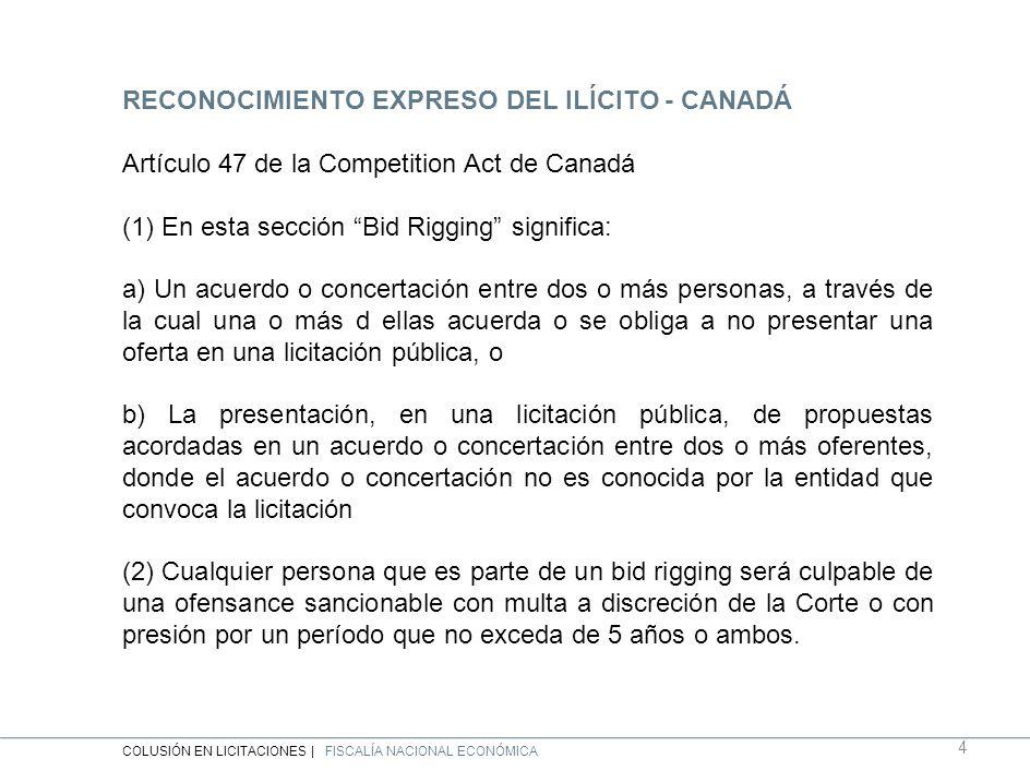 RECONOCIMIENTO EXPRESO DEL ILÍCITO - CANADÁ Artículo 47 de la Competition Act de Canadá (1) En esta sección Bid Rigging significa: a) Un acuerdo o concertación entre dos o más personas, a través de la cual una o más d ellas acuerda o se obliga a no presentar una oferta en una licitación pública, o b) La presentación, en una licitación pública, de propuestas acordadas en un acuerdo o concertación entre dos o más oferentes, donde el acuerdo o concertación no es conocida por la entidad que convoca la licitación (2) Cualquier persona que es parte de un bid rigging será culpable de una ofensance sancionable con multa a discreción de la Corte o con presión por un período que no exceda de 5 años o ambos.