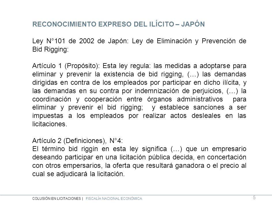 RECONOCIMIENTO EXPRESO DEL ILÍCITO – JAPÓN Ley N°101 de 2002 de Japón: Ley de Eliminación y Prevención de Bid Rigging: Artículo 1 (Propósito): Esta ley regula: las medidas a adoptarse para eliminar y prevenir la existencia de bid rigging, (…) las demandas dirigidas en contra de los empleados por participar en dicho ilícita, y las demandas en su contra por indemnización de perjuicios, (…) la coordinación y cooperación entre órganos administrativos para eliminar y prevenir el bid rigging; y establece sanciones a ser impuestas a los empleados por realizar actos desleales en las licitaciones.