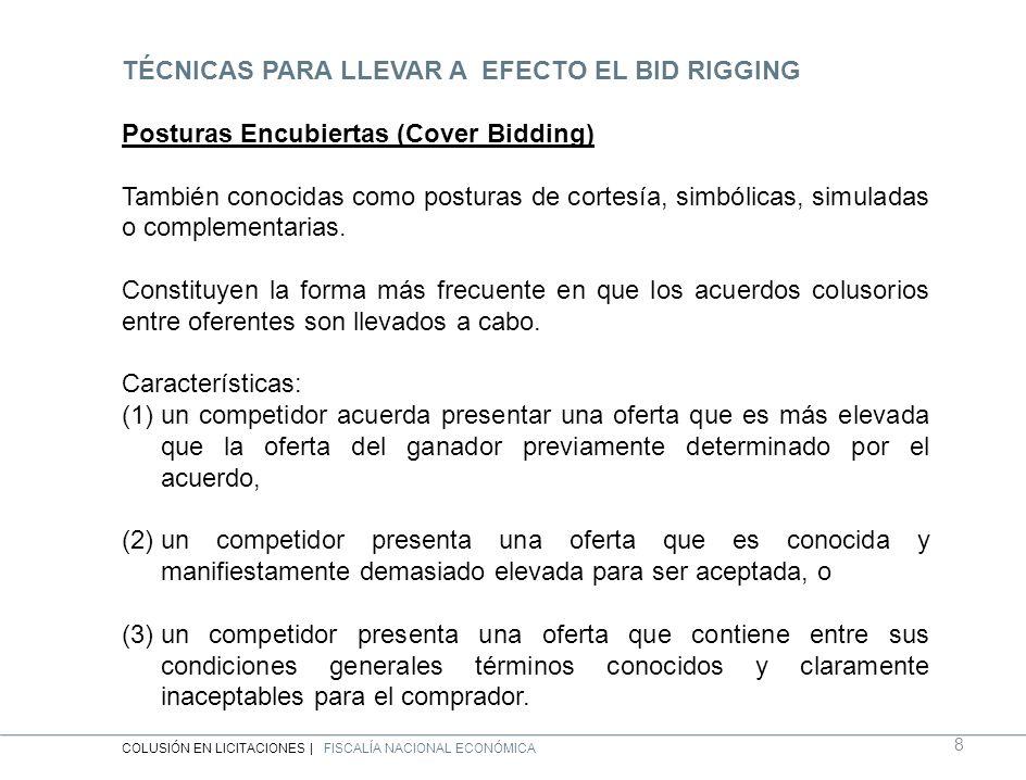 TÉCNICAS PARA LLEVAR A EFECTO EL BID RIGGING Posturas Encubiertas (Cover Bidding) También conocidas como posturas de cortesía, simbólicas, simuladas o complementarias.