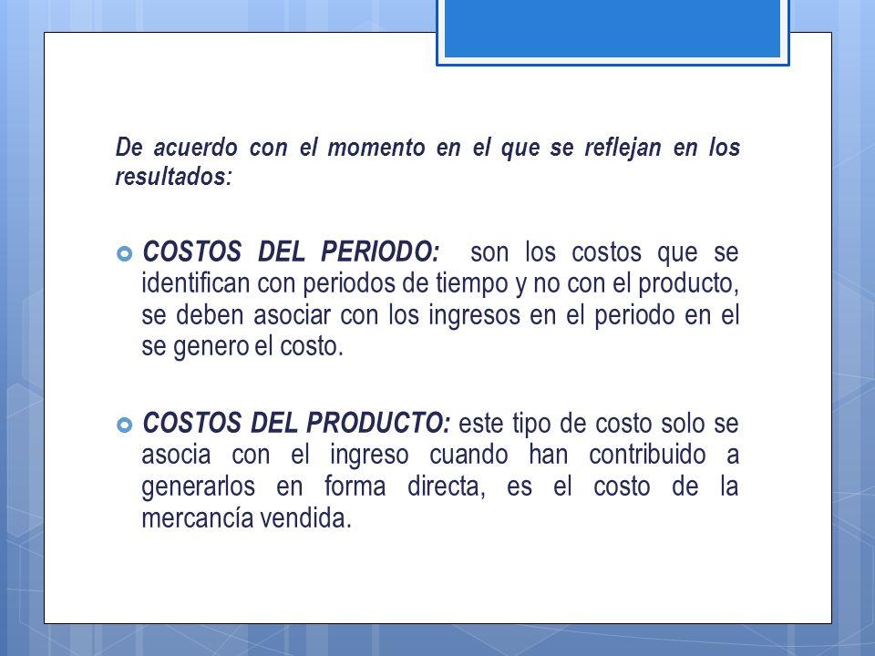 De acuerdo con el control que se tenga sobre su consumo:  COSTOS CONTROLABLES: Son aquellos costos sobre los cuales la dirección de la organización (ya sea supervisores, subgerentes, gerentes, etc.) tiene autoridad para que se generen o no.