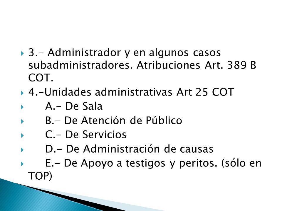  3.- Administrador y en algunos casos subadministradores.