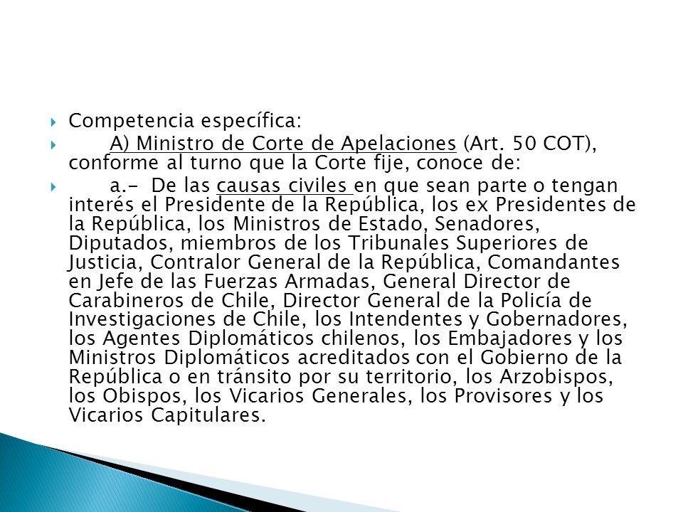  Competencia específica:  A) Ministro de Corte de Apelaciones (Art.