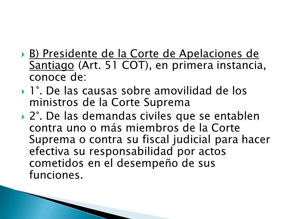  B) Presidente de la Corte de Apelaciones de Santiago (Art.