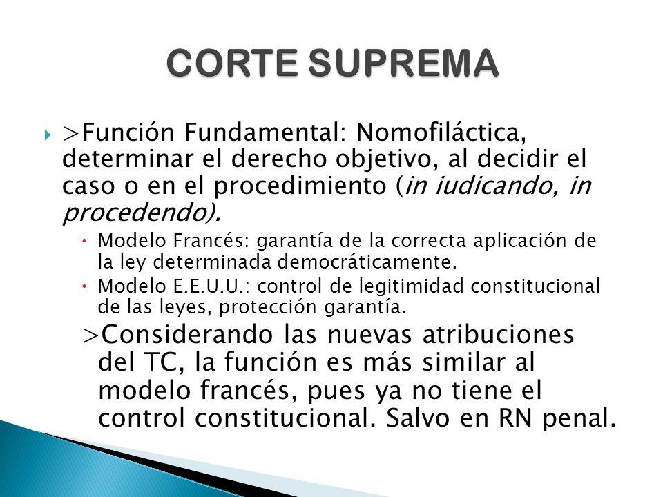  >Función Fundamental: Nomofiláctica, determinar el derecho objetivo, al decidir el caso o en el procedimiento (in iudicando, in procedendo).