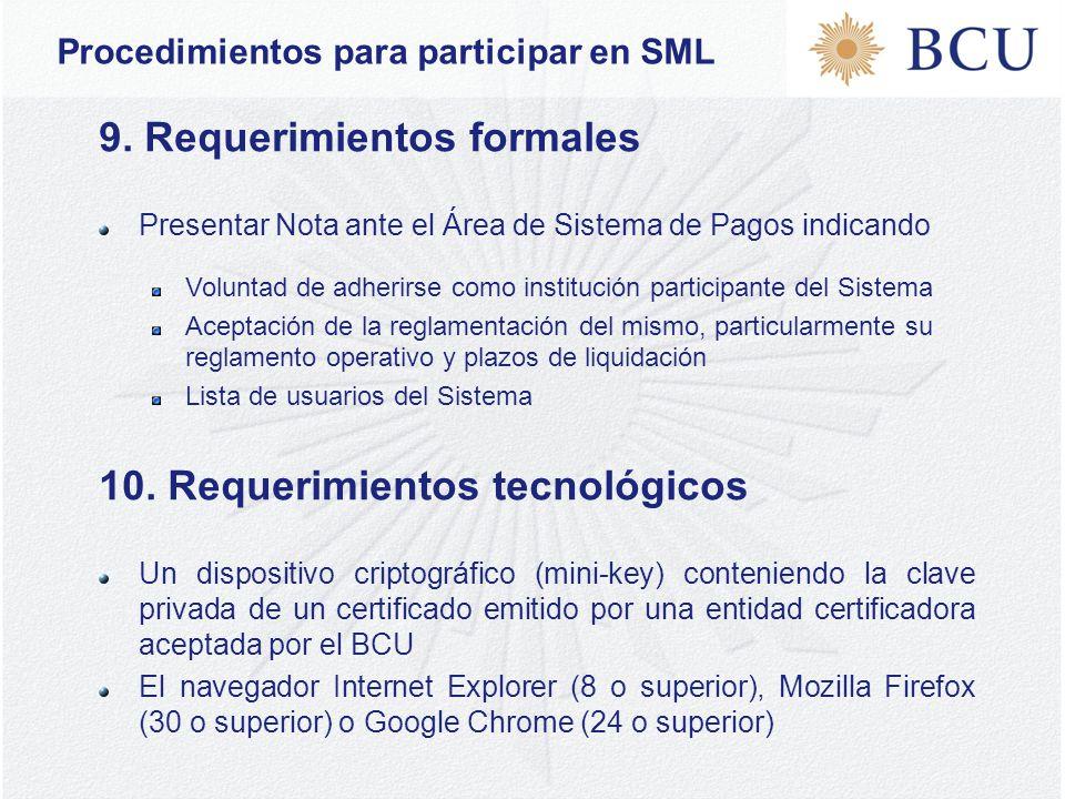 Procedimientos para participar en SML 9.