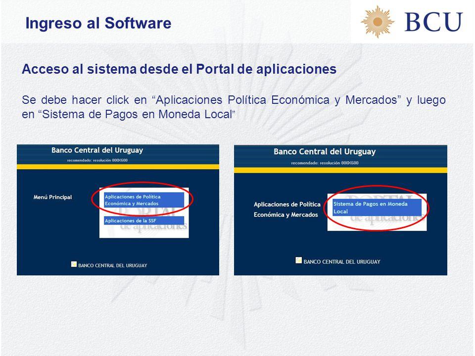 Acceso al sistema desde el Portal de aplicaciones Se debe hacer click en Aplicaciones Política Económica y Mercados y luego en Sistema de Pagos en Moneda Local Ingreso al Software