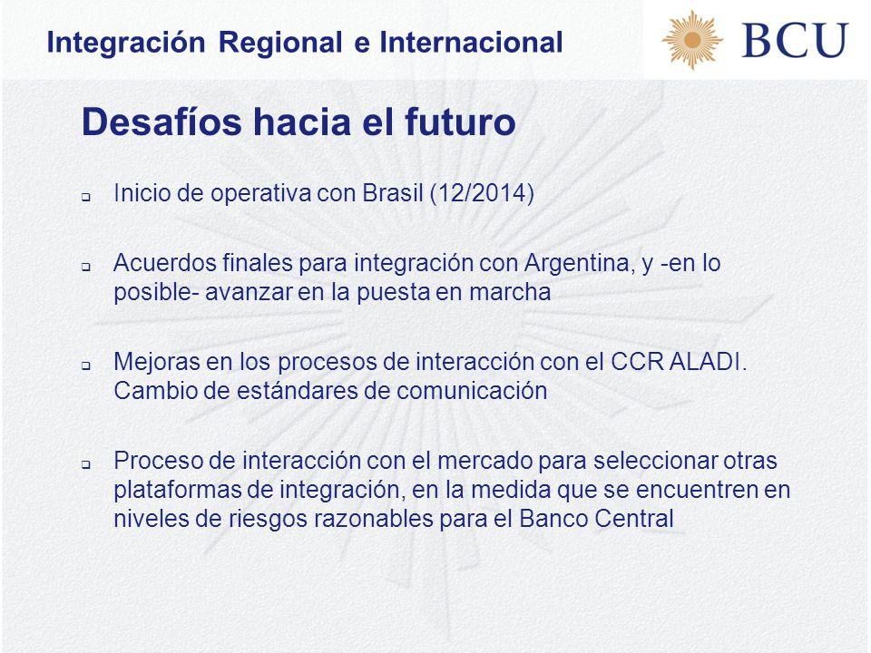 Desafíos hacia el futuro  Inicio de operativa con Brasil (12/2014)  Acuerdos finales para integración con Argentina, y -en lo posible- avanzar en la puesta en marcha  Mejoras en los procesos de interacción con el CCR ALADI.