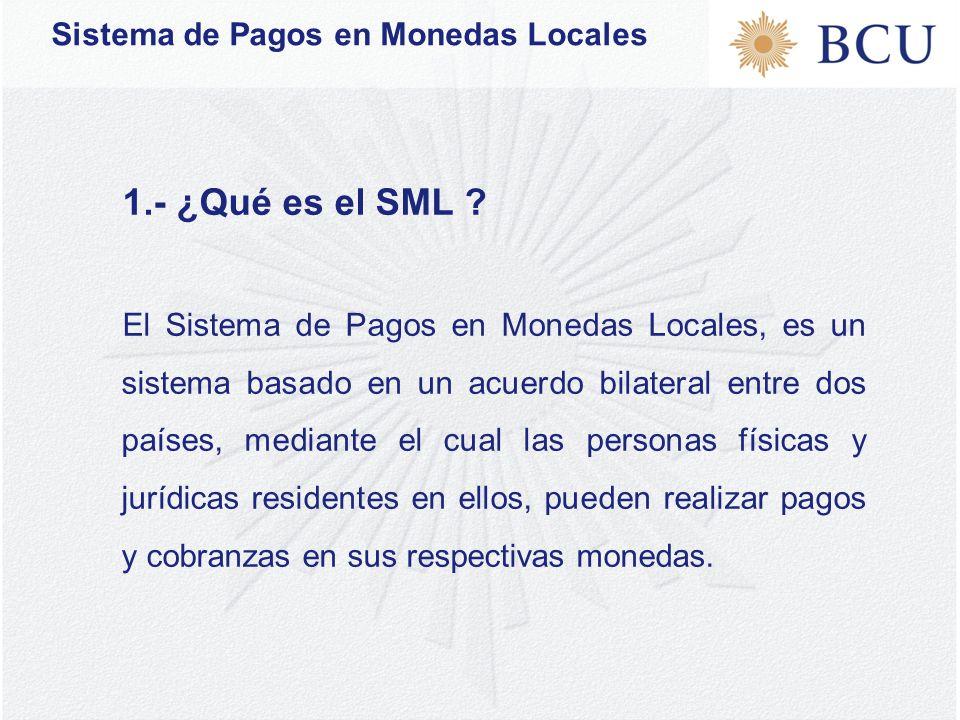 Sistema de Pagos en Monedas Locales 1.- ¿Qué es el SML .