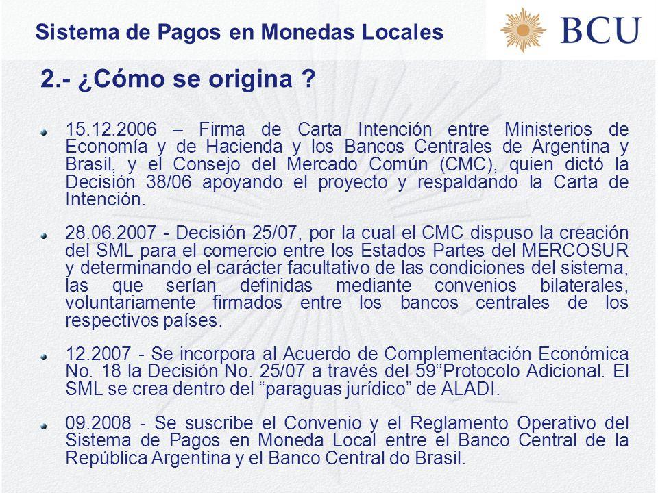 Sistema de Pagos en Monedas Locales 2.- ¿Cómo se origina .