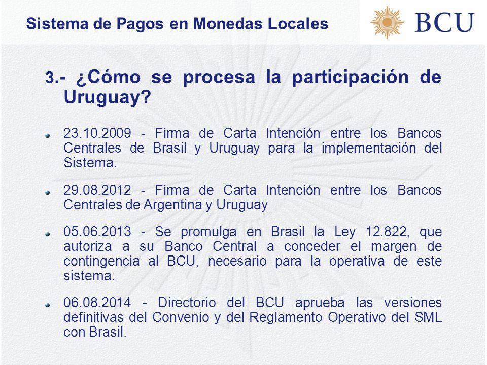 Sistema de Pagos en Monedas Locales 3.- ¿Cómo se procesa la participación de Uruguay.