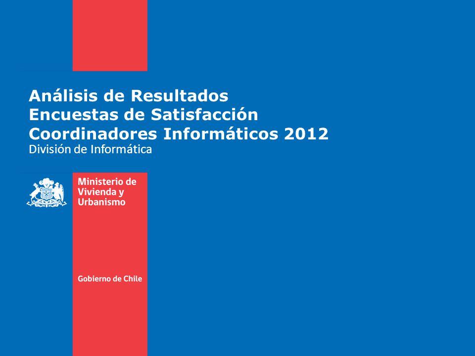 Análisis de Resultados Encuestas de Satisfacción Coordinadores Informáticos 2012 División de Informática