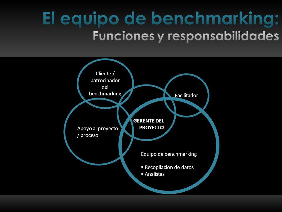 Cliente / patrocinador del benchmarking Apoyo al proyecto / proceso Equipo de benchmarking  Recopilación de datos  Analistas Facilitador GERENTE DEL PROYECTO