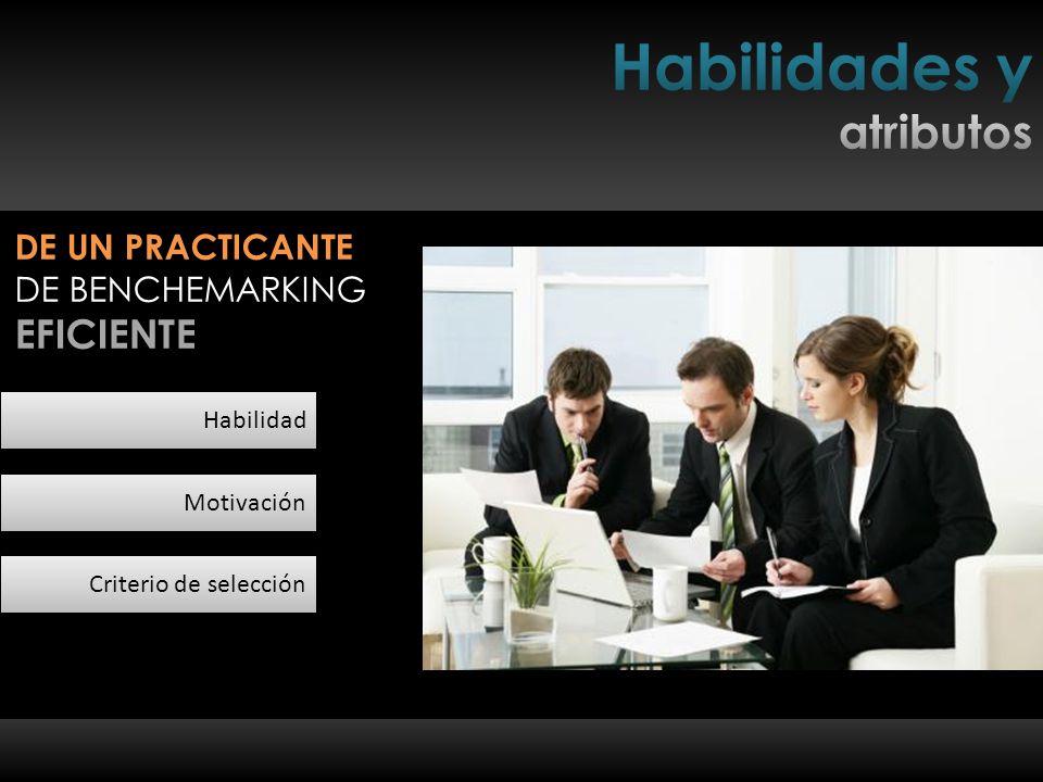 Habilidad Motivación Criterio de selección DE UN PRACTICANTE DE BENCHEMARKING EFICIENTE