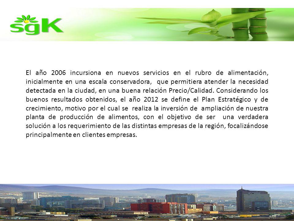 El año 2006 incursiona en nuevos servicios en el rubro de alimentación, inicialmente en una escala conservadora, que permitiera atender la necesidad detectada en la ciudad, en una buena relación Precio/Calidad.