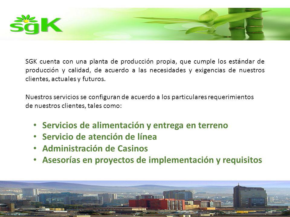 SGK cuenta con una planta de producción propia, que cumple los estándar de producción y calidad, de acuerdo a las necesidades y exigencias de nuestros clientes, actuales y futuros.