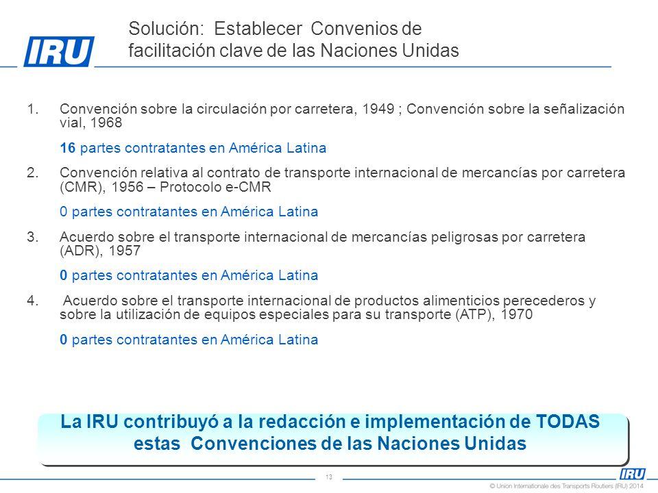 13 1.Convención sobre la circulación por carretera, 1949 ; Convención sobre la señalización vial, 1968 16 partes contratantes en América Latina 2.Convención relativa al contrato de transporte internacional de mercancías por carretera (CMR), 1956 – Protocolo e-CMR 0 partes contratantes en América Latina 3.Acuerdo sobre el transporte internacional de mercancías peligrosas por carretera (ADR), 1957 0 partes contratantes en América Latina 4.