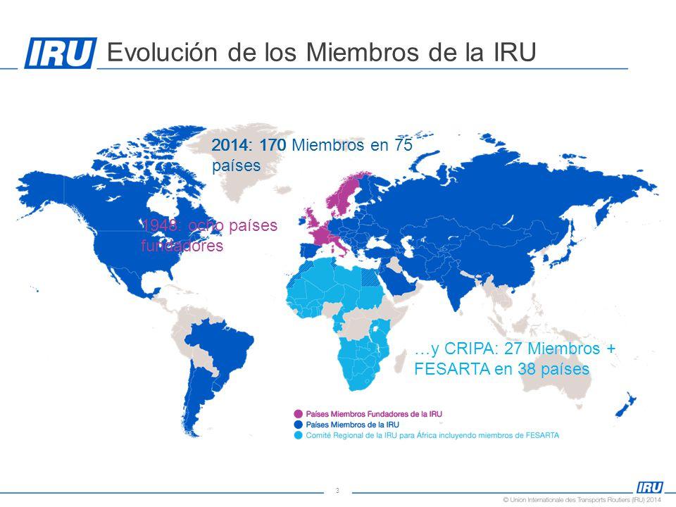 3 Evolución de los Miembros de la IRU 1948: ocho países fundadores 2014: 170 Miembros en 75 países 2014: 170 …y CRIPA: 27 Miembros + FESARTA en 38 países