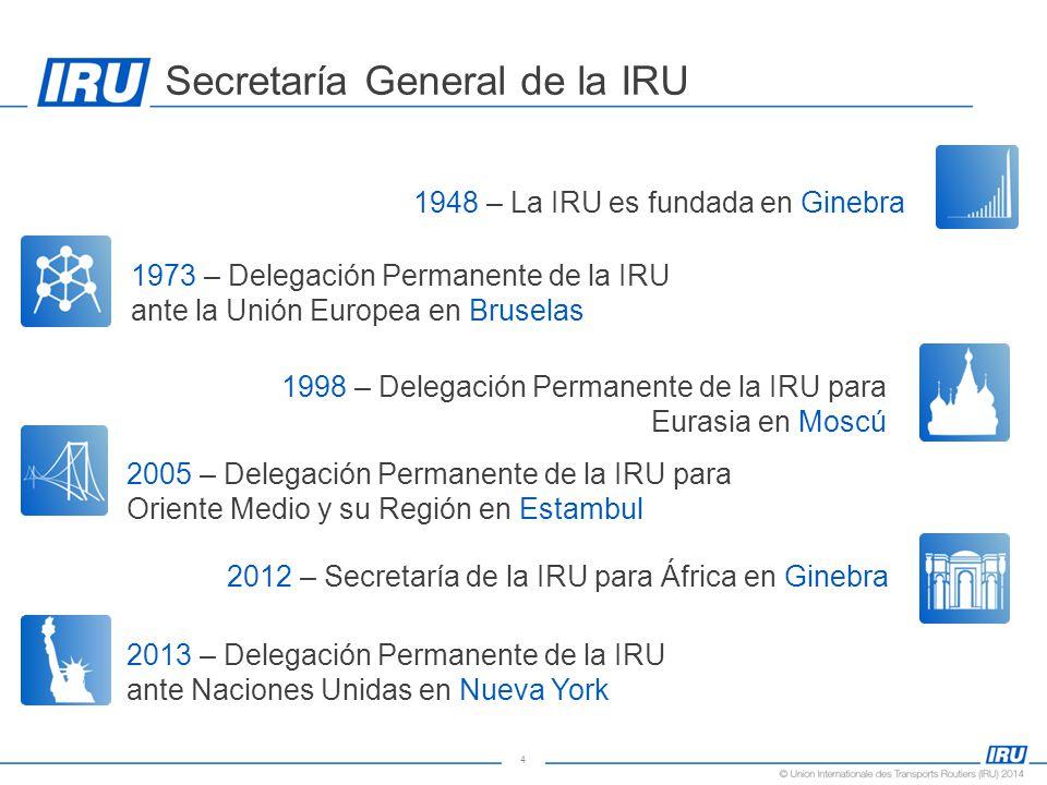 4 Secretaría General de la IRU 1948 – La IRU es fundada en Ginebra 1973 – Delegación Permanente de la IRU ante la Unión Europea en Bruselas 1998 – Delegación Permanente de la IRU para Eurasia en Moscú 2005 – Delegación Permanente de la IRU para Oriente Medio y su Región en Estambul 2012 – Secretaría de la IRU para África en Ginebra 2013 – Delegación Permanente de la IRU ante Naciones Unidas en Nueva York