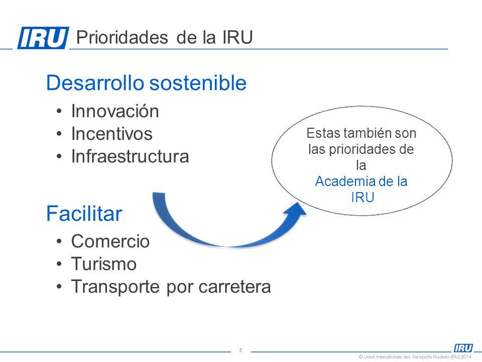6 Prioridades de la IRU  Desarrollo sostenible Innovación Incentivos Infraestructura  Facilitar Comercio Turismo Transporte por carretera Estas también son las prioridades de la Academia de la IRU