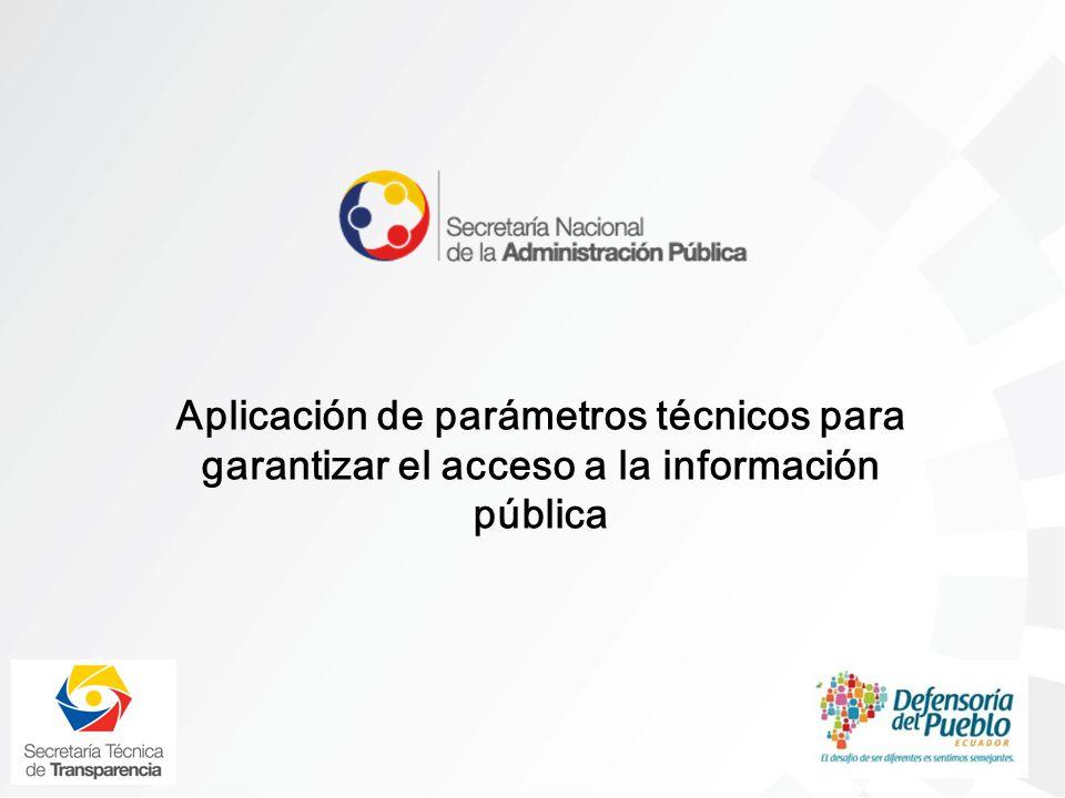 Aplicación de parámetros técnicos para garantizar el acceso a la información pública