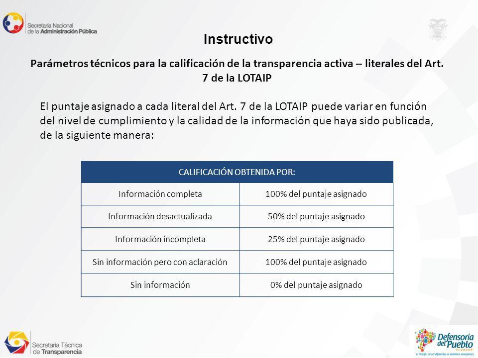 Instructivo Parámetros técnicos para la calificación de la transparencia activa – literales del Art.