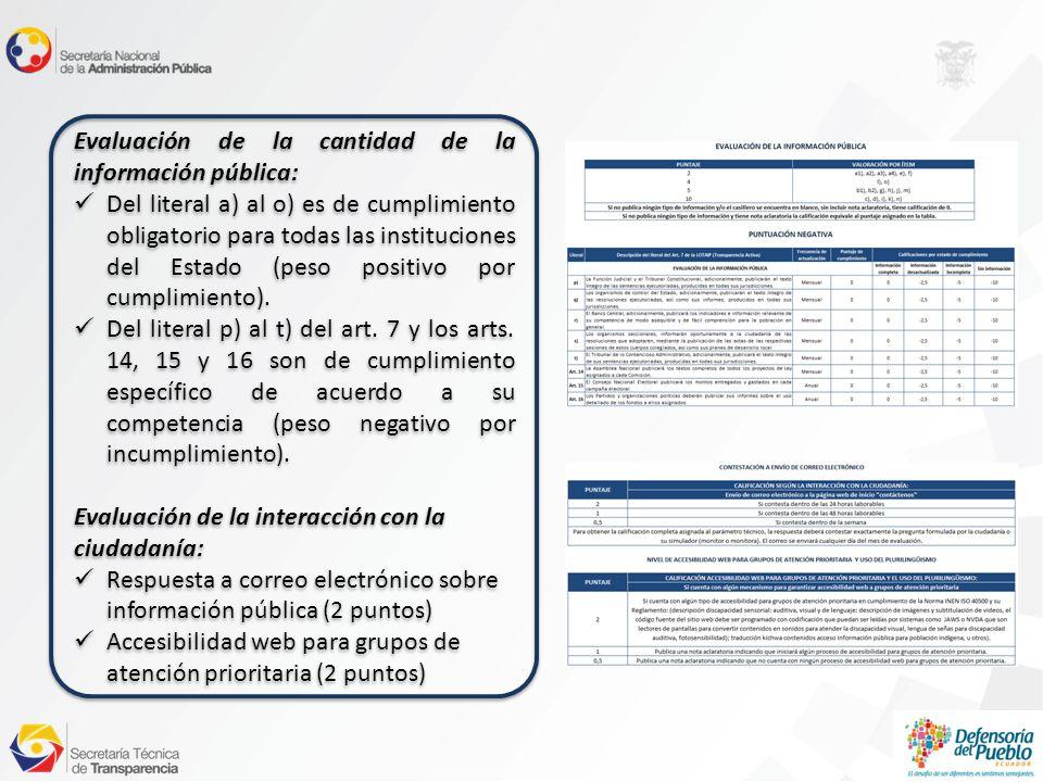 Evaluación de la cantidad de la información pública: Del literal a) al o) es de cumplimiento obligatorio para todas las instituciones del Estado (peso positivo por cumplimiento).