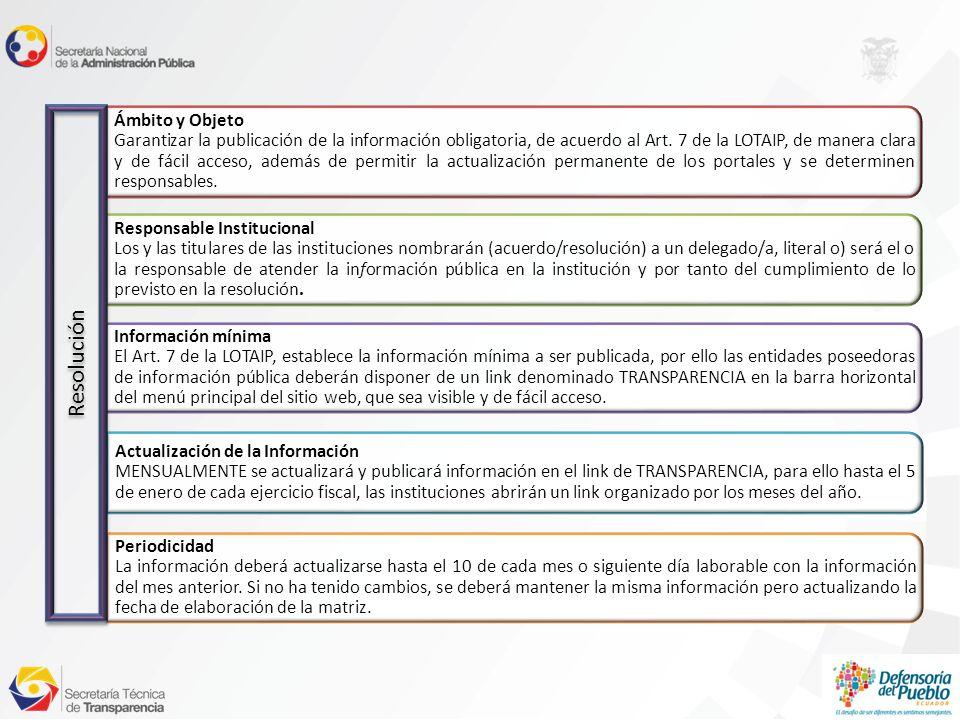 Ámbito y Objeto Garantizar la publicación de la información obligatoria, de acuerdo al Art.